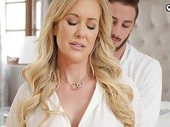 Ravishing gilded damsel, Brandi Enjoy is impatiently fellating her step- sonnie's knob before getting plumbed